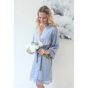 Dusty Blue Lauren Lace Satin Robe