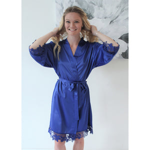 Royal Blue Lauren Lace Satin Robe