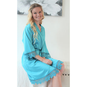 Teal Lauren Lace Satin Robe