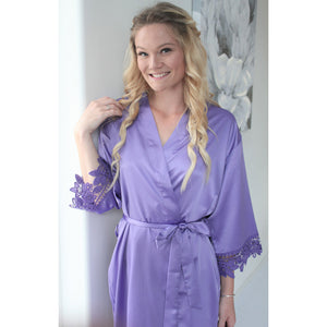 Lavender Lauren Lace Satin Robe