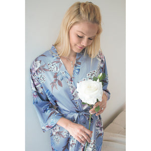 Fine Floral Satin Robe | Dusty Blue
