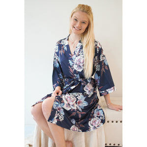 Fine Floral Satin Robe | Navy Blue