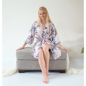 Fine Floral Satin Robe | Light Lavender