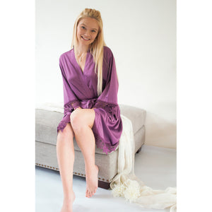 Deep Purple Lauren Lace Satin Robe