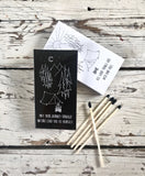 Custom decorative matchboxes in black and white