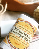 Homemade beeswax lotion bar - shea, cocoa butter, and essential oils