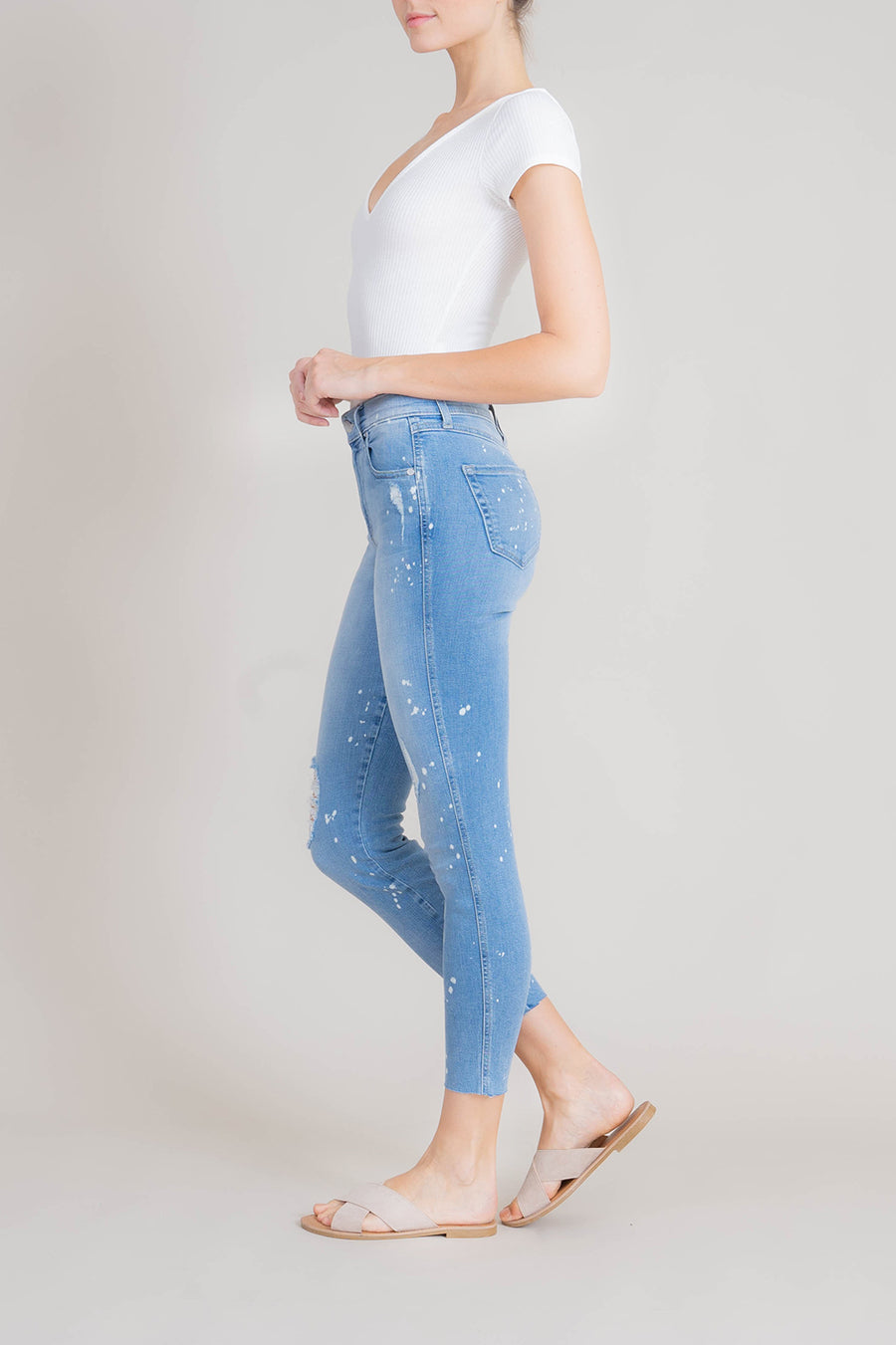 Janie High Rise Raw Hem Skinny - level99jeans