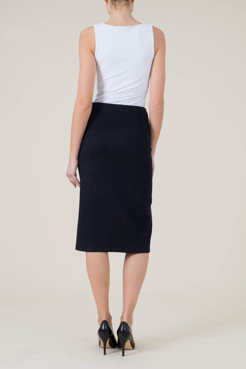 Connie Midi Faux Suede Skirt