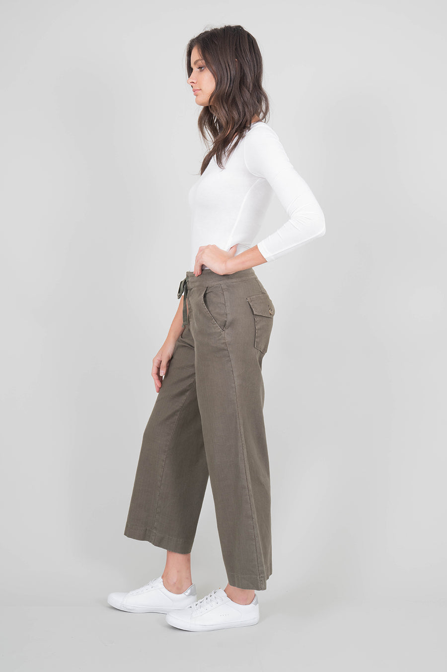 Leila Stretch Linen Crop Flare - level99jeans