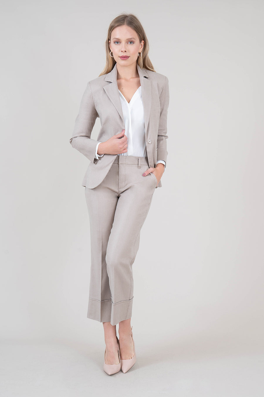 Loretta Stretch Linen Blazer - level99jeans