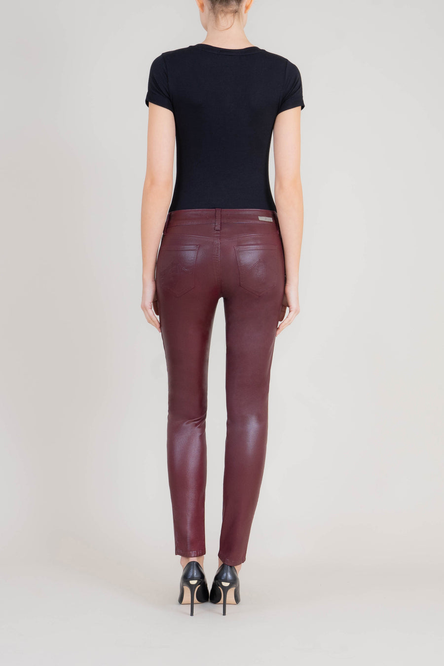 Liza Midrise Burgundy Lux Coated Skinny - level99jeans