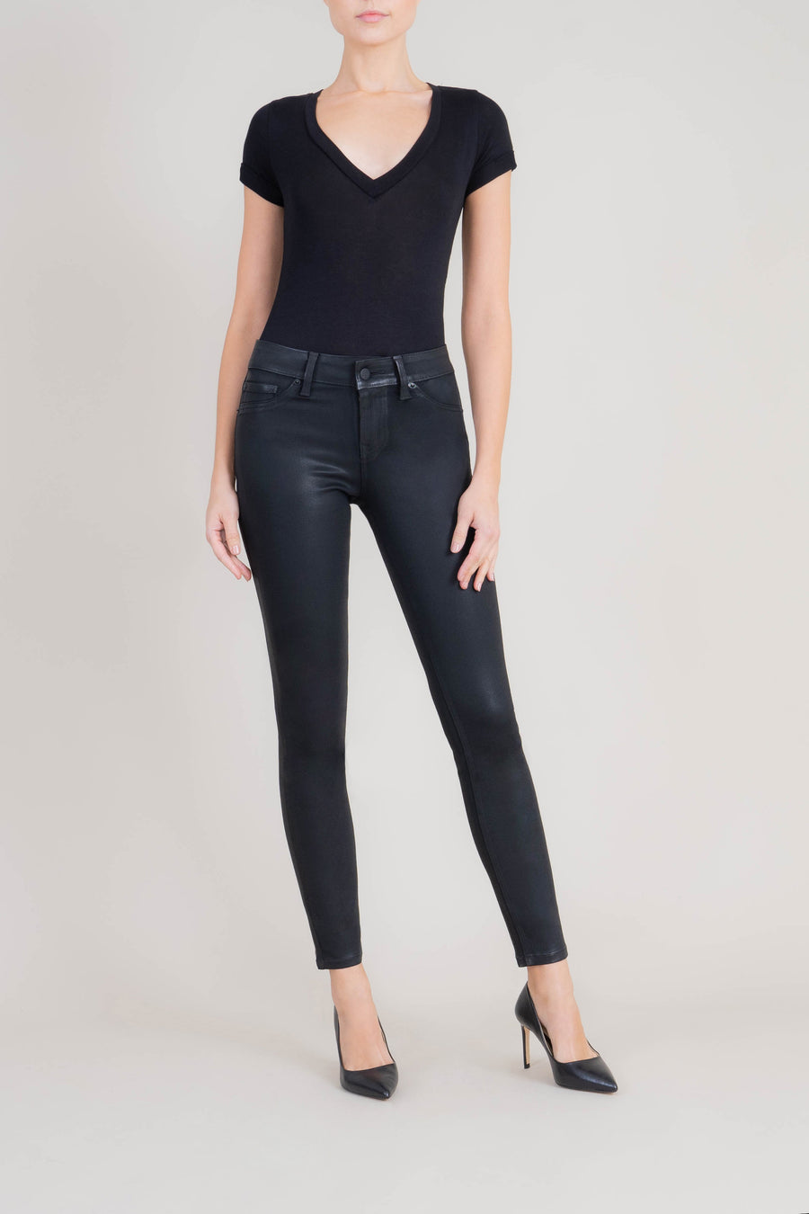 Liza Midrise Black Lux Coated Skinny - level99jeans