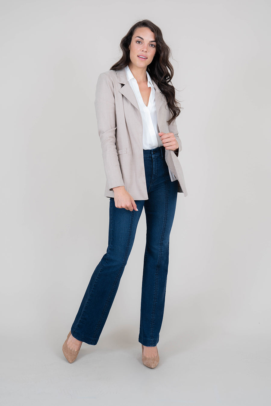 Rachel Stretch Linen Blazer - level99jeans