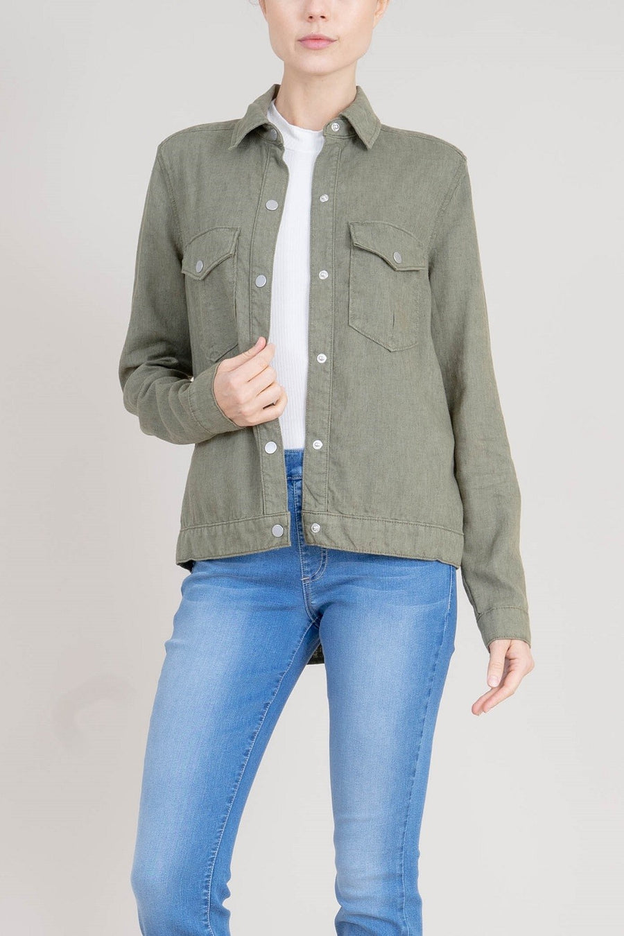 Gwen Linen Tencel Lightweight Chore Jacket - level99jeans