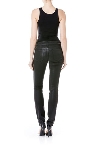 Lily Skinny Straight - Black Leather Coating