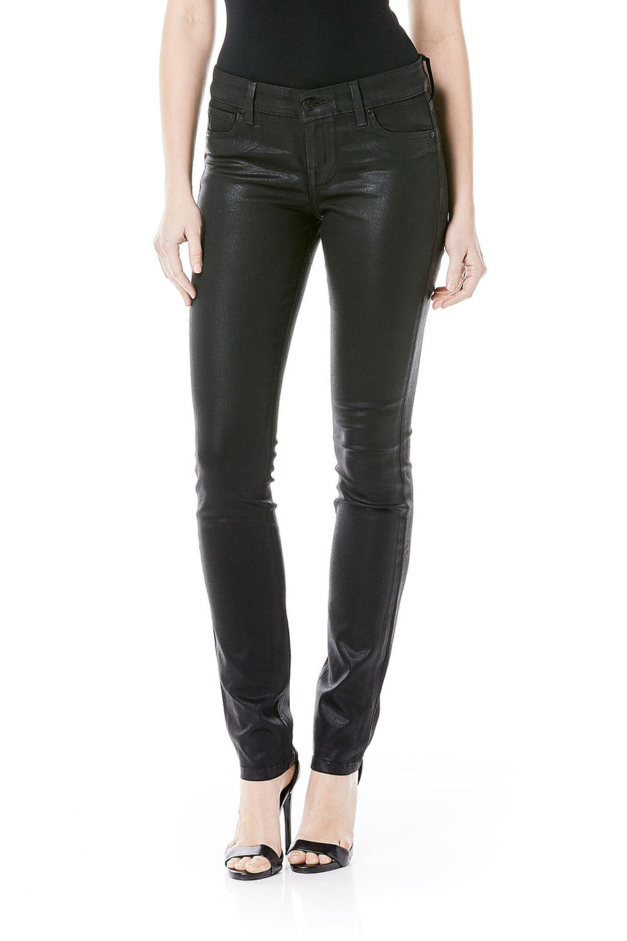 Lily Skinny Straight - Black Leather Coating - level99jeans