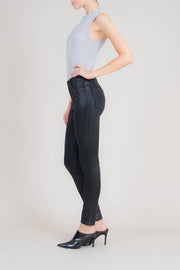 Liza Midrise Black Lux Coated Skinny