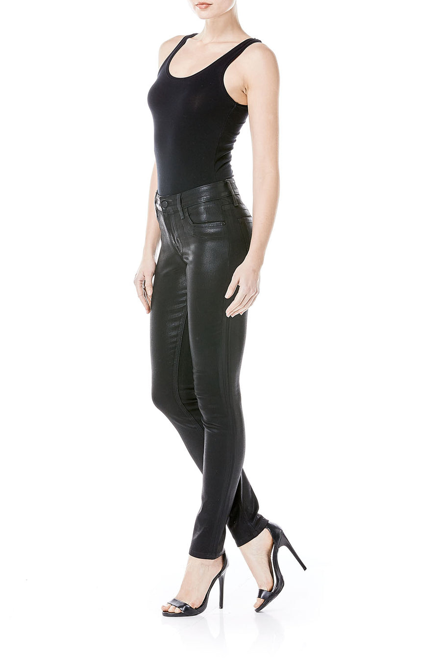 Liza Black Coated Faux Leather Skinny - level99jeans
