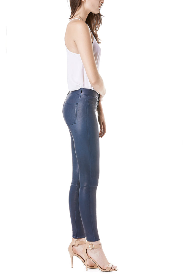 Navy Leather Pants