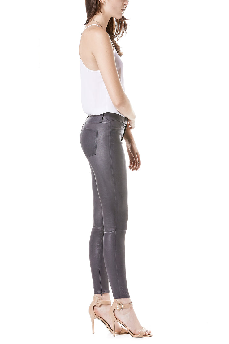 Charcoal Leather Pants