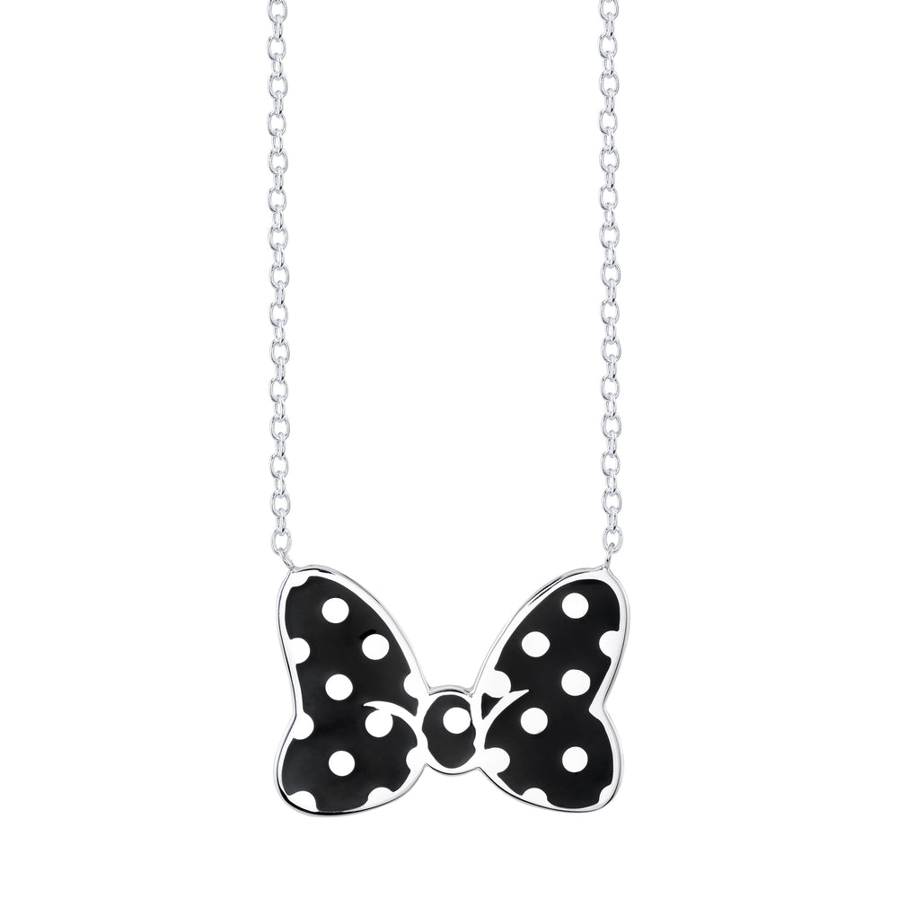 Disney X Rocklove Enamel Minnie Mouse Bow Necklace Figaro Black