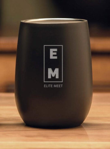 ELITE MEET BLACK STEMLESS WINE - 9oz - EliteMeetGear.us