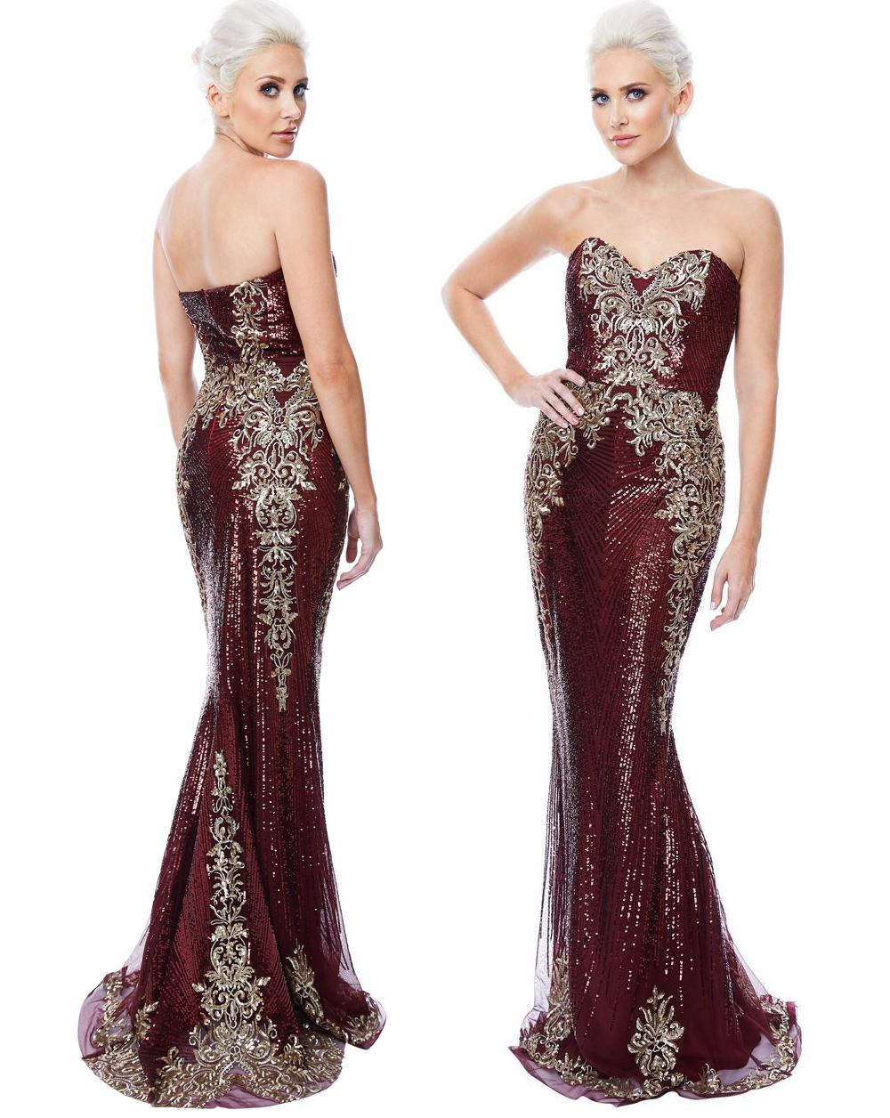 10202 Designer gown. Stunning strapless sequin evening gown size 8
