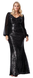 Style 10210B plus size 22 black Maxi length, long sleeves, plunging v neckline evening / ball gown