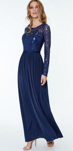 10301  Size 10  navy sequin top chiffon bottom long sleeved open back.