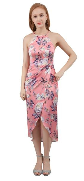 10406P pink, white and blue floral print. Size 12 halter cocktail dress