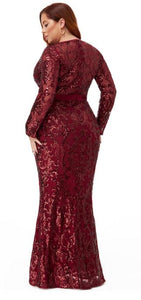 Style 10431 plus size 24 burgundy / wine Maxi length, long sleeves, plunging v neckline evening / ball gown