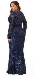 10431 plus size 24 navy Maxi length, long sleeves, plunging v neckline.