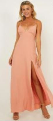 10648 designer peach/pink slit open back. Size 8