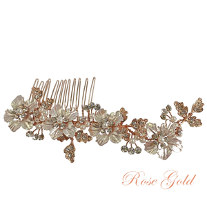 #7208 Floral Romance bridal , rose gold wedding, hair comb - Size is 12cm x 5cm wide.