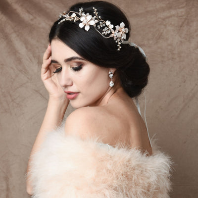 #7103 EXQUISITE ROMANCE VINE - BLUSH PINK and gold. By  Athena Bridal Jewellery