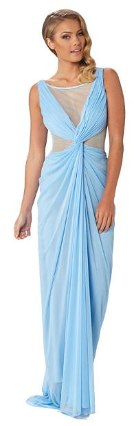 Size 12 Light blue soft crepe and mesh evening gown. Sexy side mesh inserts and front split ball dress