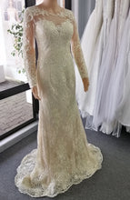 1820 size  6 champagne long sleeved formal wedding gown