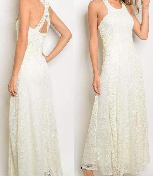 BB1860. Size 10 Elegant, bohemian lace dress. High neckline with open strappy back.