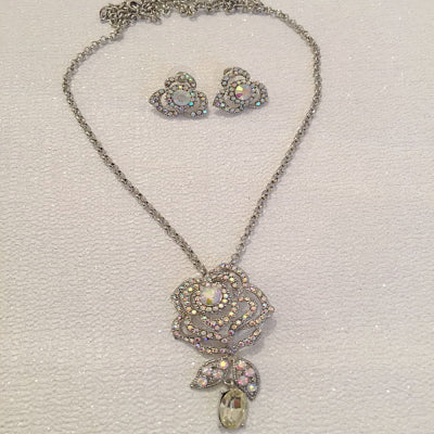 #7086 Vintage inspired crystal drop necklace set by Athena