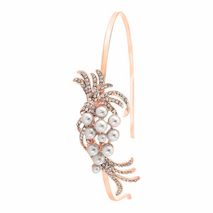 #7051 Chic pearl rose gold bridal headband by Athena