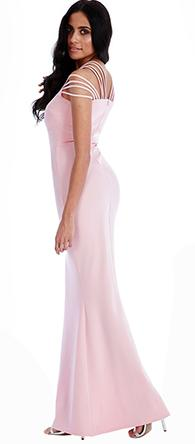 Size 12 'Goddess' pale pink stretch, fit and flare evening gown
