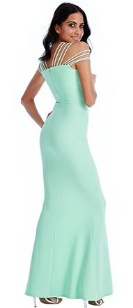 Size 16 'Goddess' mint stretch, fit and flare evening gown