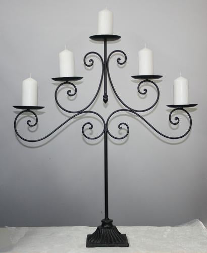 BBBM5C  Black metal. 5 candle holder. (65cm high). 2 available. $15.65.