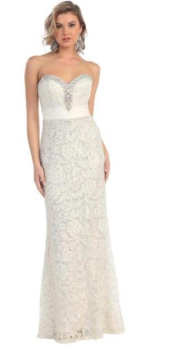 70054 size 6 lace strapless modern wedding dress. Good quality. Cheap on clearance.