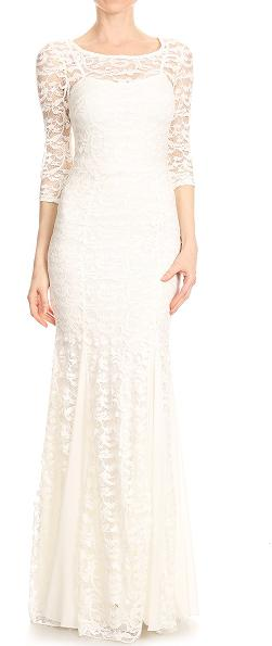 Size 8 bohemian off white chiffon and lace gown with long sleeves