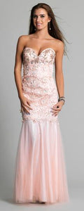 Size 10 'Dave and Johnny' pale pink  beaded and lace fit and flare evening gown