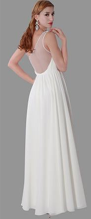 Size 8 bohemian off white chiffon gown with mesh back.