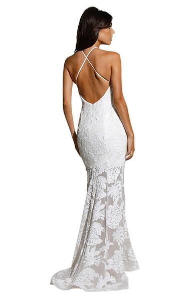 70518 Designer Gown off the rack size 8. halter with open back