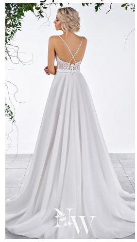70536 Nelly White Designer Gown off the rack size 12. White sweetheart with spaghetti straps and A line skirt