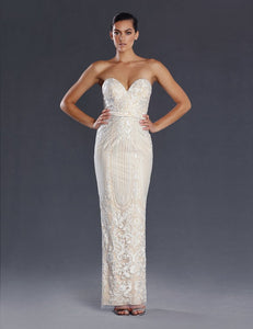 70721 designer gown size 12 and size 16. Modern strapless, ivory on nude, sheath style lace gown